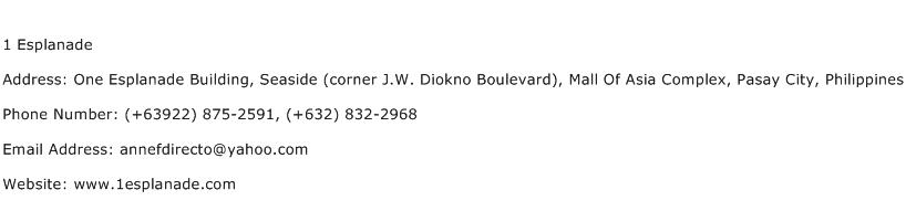 1 Esplanade Address Contact Number