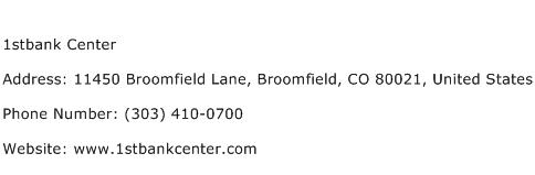 1stbank Center Address Contact Number