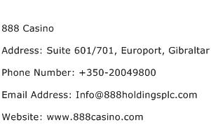888 Casino Address Contact Number