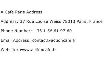 A Cafe Paris Address Address Contact Number