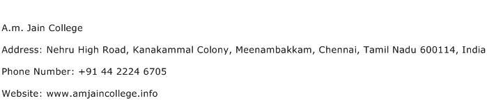 A.m. Jain College Address Contact Number