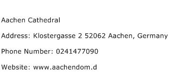 Aachen Cathedral Address Contact Number