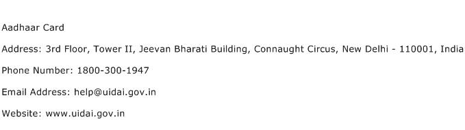 Aadhaar Card Address Contact Number