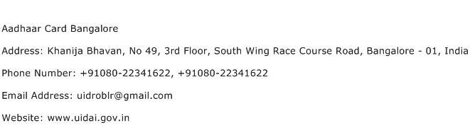 Aadhaar Card Bangalore Address Contact Number