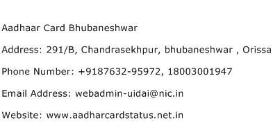Aadhaar Card Bhubaneshwar Address Contact Number