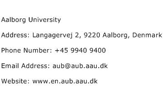 Aalborg University Address Contact Number