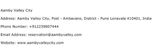 Aamby Valley City Address Contact Number