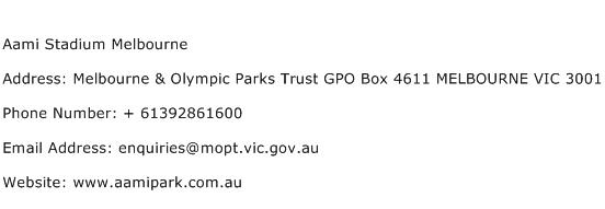 Aami Stadium Melbourne Address Contact Number