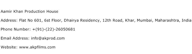 Aamir Khan Production House Address Contact Number