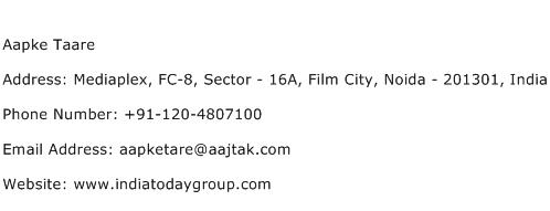 Aapke Taare Address Contact Number