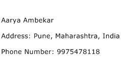 Aarya Ambekar Address Contact Number