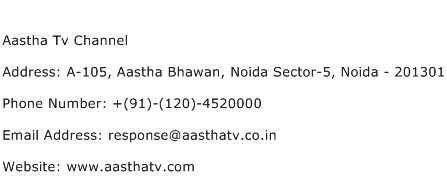 Aastha Tv Channel Address Contact Number