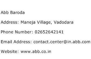 Abb Baroda Address Contact Number