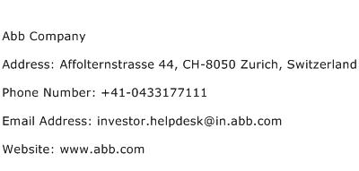 Abb Company Address Contact Number