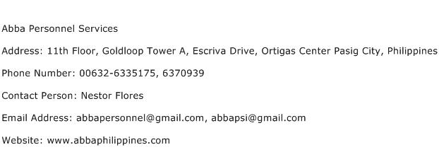 Abba Personnel Services Address Contact Number