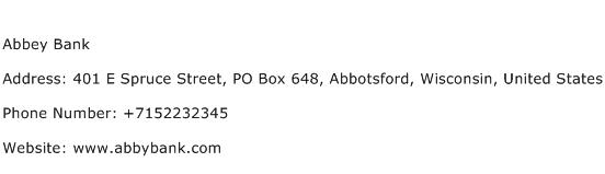 Abbey Bank Address Contact Number