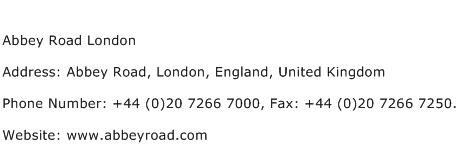 Abbey Road London Address Contact Number