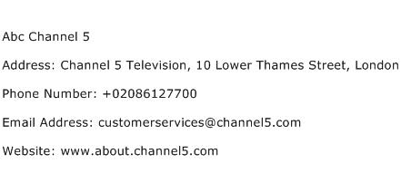 Abc Channel 5 Address Contact Number