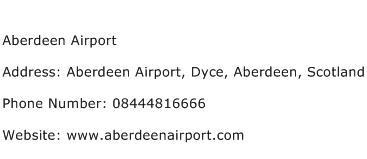Aberdeen Airport Address Contact Number