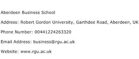 Aberdeen Business School Address Contact Number