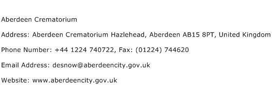 Aberdeen Crematorium Address Contact Number