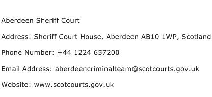 Aberdeen Sheriff Court Address Contact Number