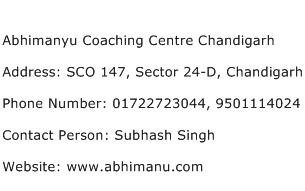 Abhimanyu Coaching Centre Chandigarh Address Contact Number