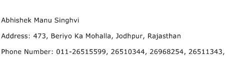 Abhishek Manu Singhvi Address Contact Number