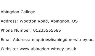 Abingdon College Address Contact Number