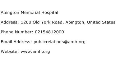 Abington Memorial Hospital Address Contact Number