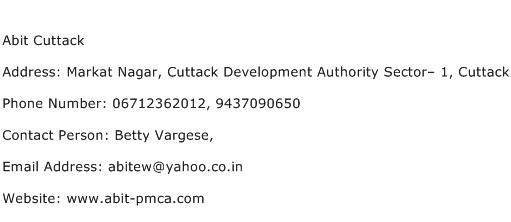 Abit Cuttack Address Contact Number