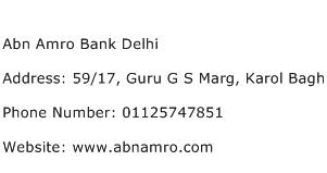 Abn Amro Bank Delhi Address Contact Number