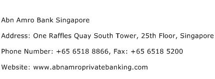 Abn Amro Bank Singapore Address Contact Number