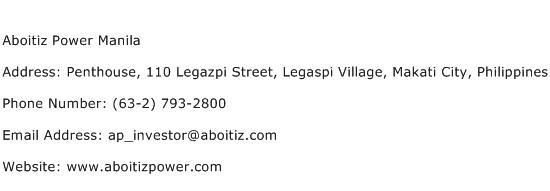Aboitiz Power Manila Address Contact Number