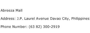 Abreeza Mall Address Contact Number