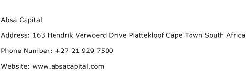 Absa Capital Address Contact Number
