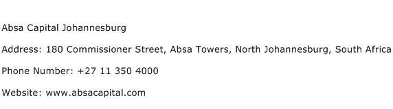 Absa Capital Johannesburg Address Contact Number