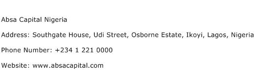 Absa Capital Nigeria Address Contact Number