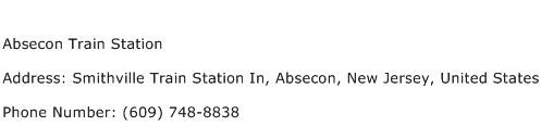 Absecon Train Station Address Contact Number