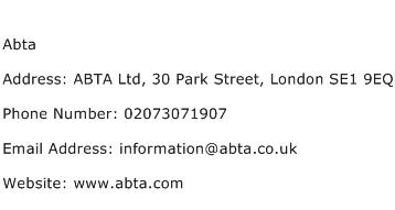 Abta Address Contact Number