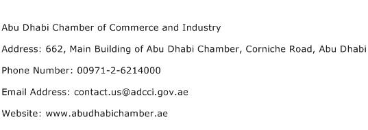 Abu Dhabi Chamber of Commerce and Industry Address Contact Number