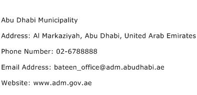 Abu Dhabi Municipality Address Contact Number