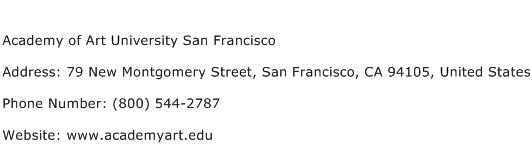 Academy of Art University San Francisco Address Contact Number