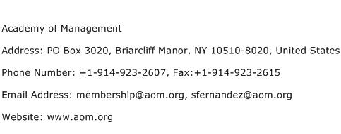 Academy of Management Address Contact Number