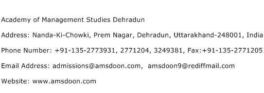 Academy of Management Studies Dehradun Address Contact Number