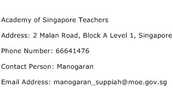 Academy of Singapore Teachers Address Contact Number