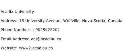 Acadia University Address Contact Number