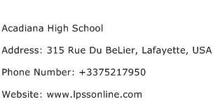 Acadiana High School Address Contact Number