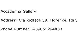 Accademia Gallery Address Contact Number