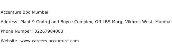 Accenture Bpo Mumbai Address Contact Number